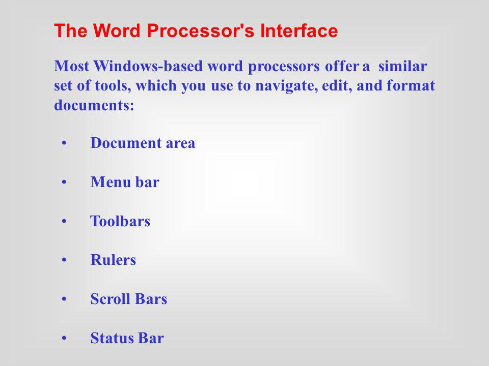 The Word Processor s Interface