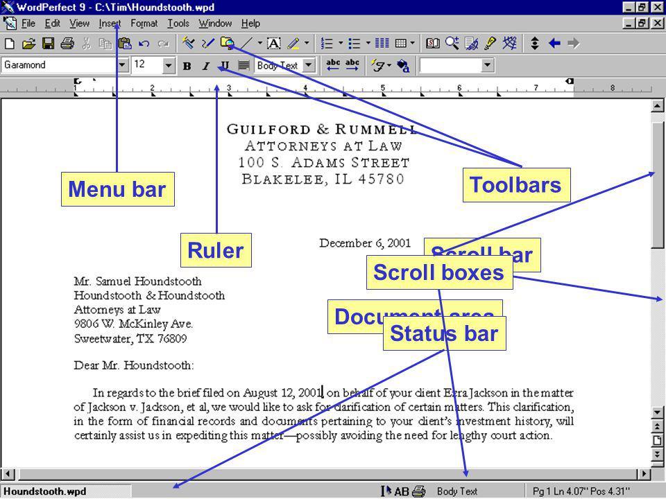 Menu bar Toolbars Ruler Scroll boxes Scroll bar Document area Status bar