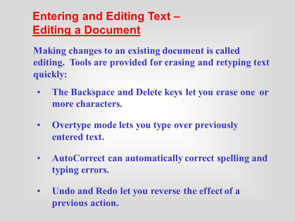 Entering and Editing Text – Editing a Document