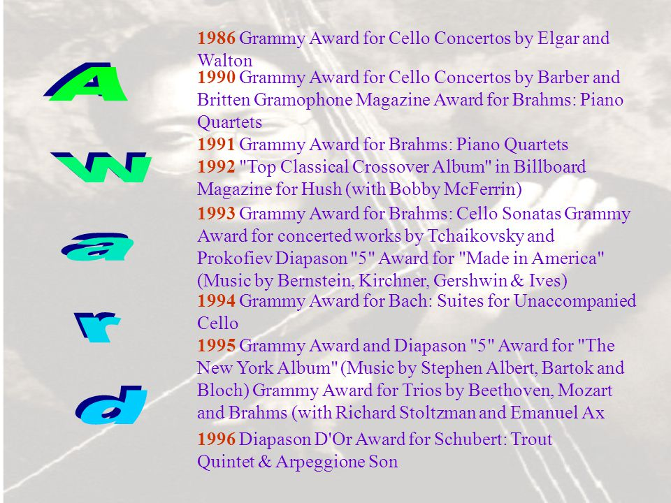 Award 1986 Grammy Award for Cello Concertos by Elgar and Walton