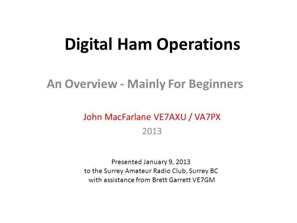 Digital Ham Operations