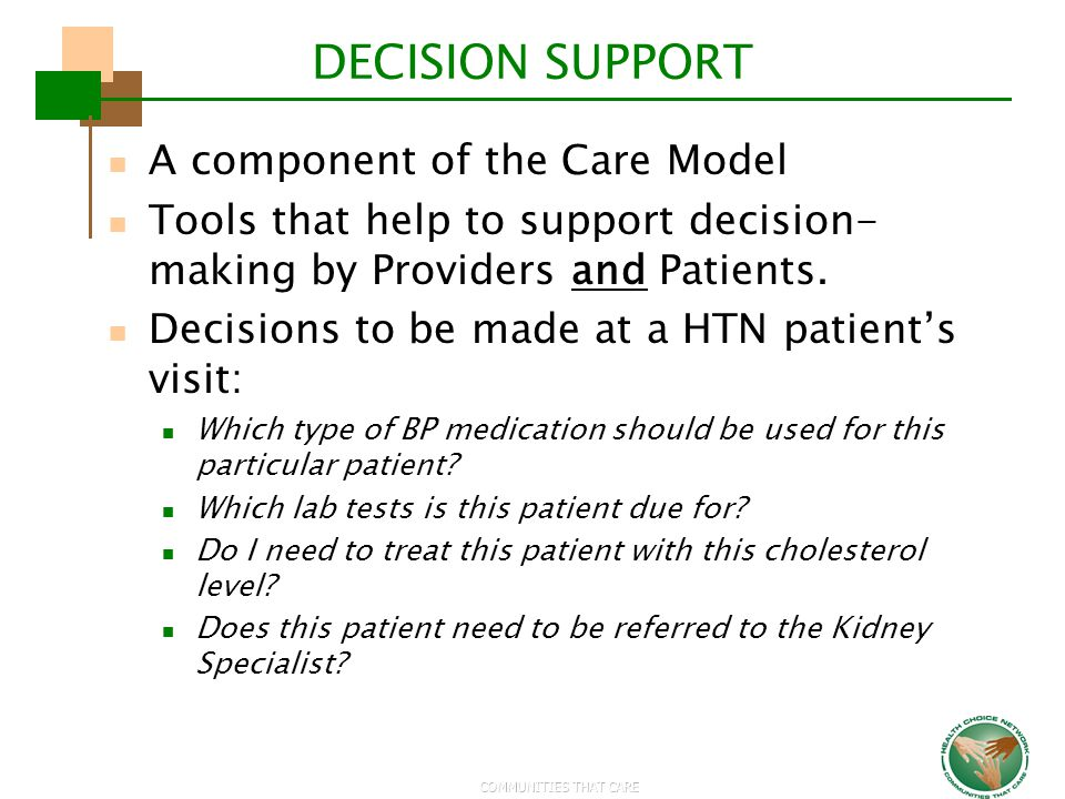 DECISION SUPPORT A component of the Care Model