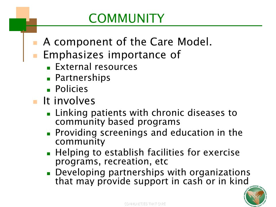 COMMUNITY A component of the Care Model. Emphasizes importance of