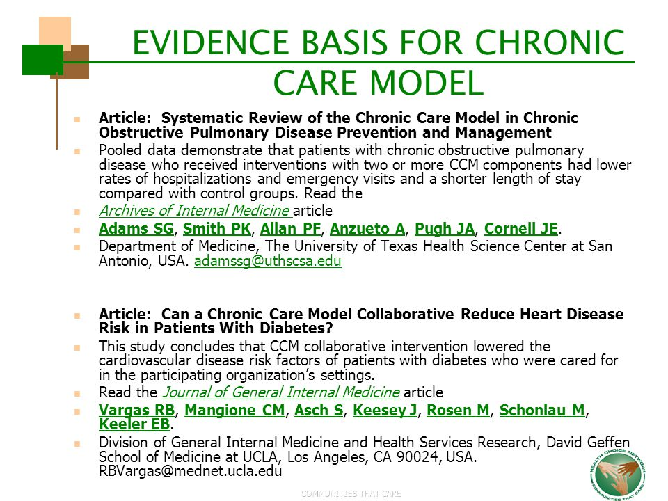 EVIDENCE BASIS FOR CHRONIC CARE MODEL
