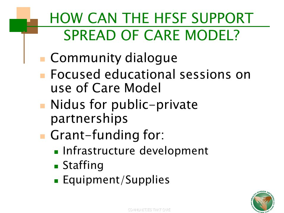 HOW CAN THE HFSF SUPPORT SPREAD OF CARE MODEL