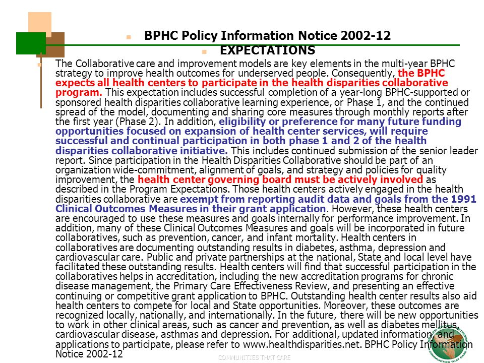 BPHC Policy Information Notice 2002-12