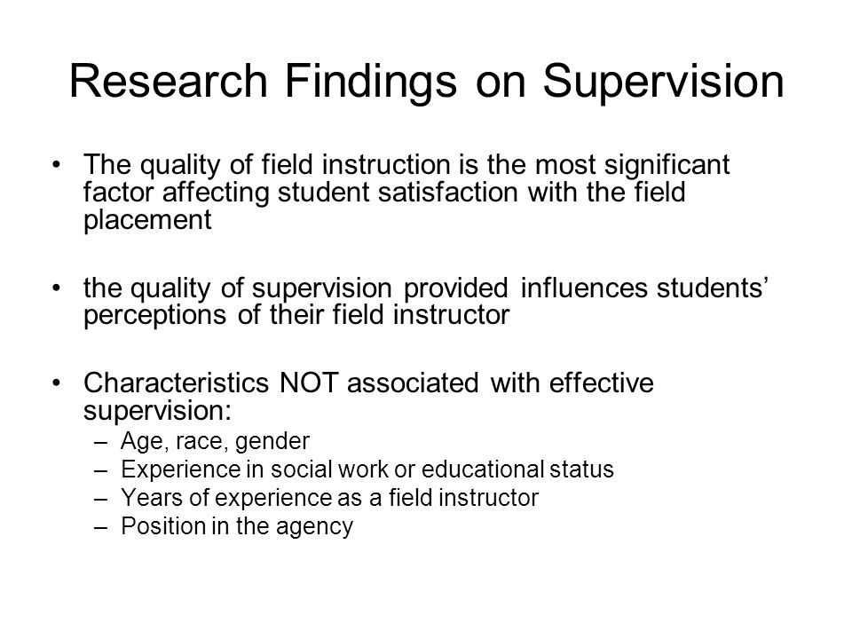 Research Findings on Supervision