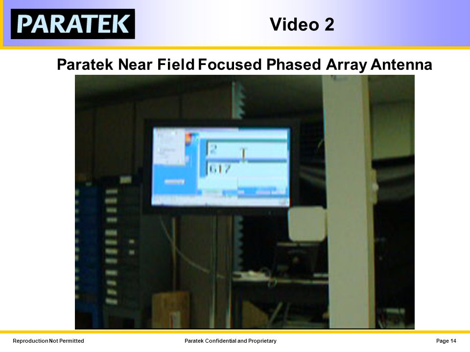 Paratek Near Field Focused Phased Array Antenna