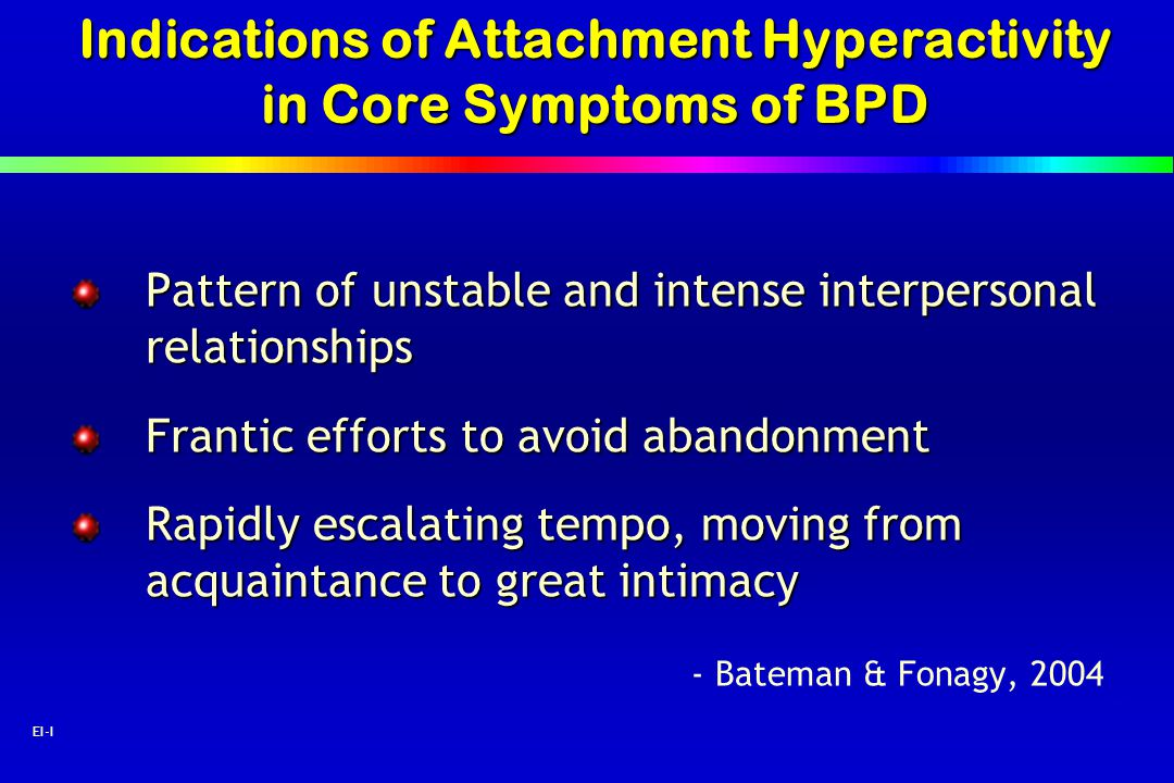 Indications of Attachment Hyperactivity in Core Symptoms of BPD