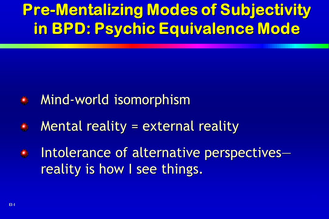 Pre-Mentalizing Modes of Subjectivity in BPD: Psychic Equivalence Mode