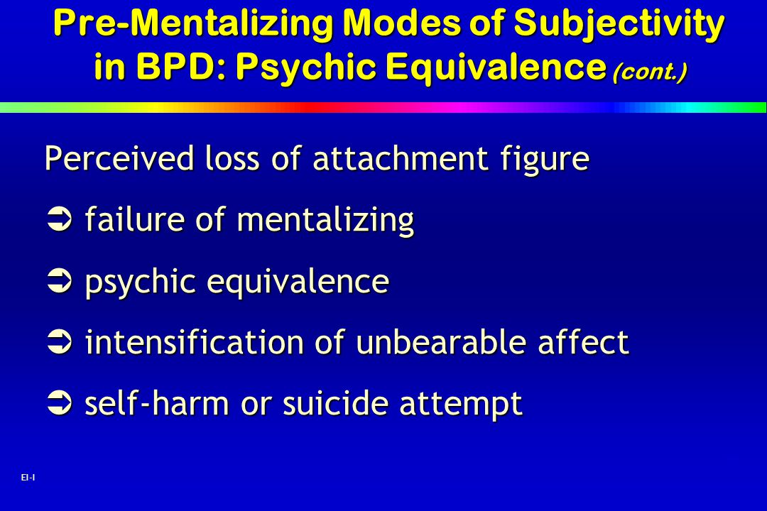 Pre-Mentalizing Modes of Subjectivity in BPD: Psychic Equivalence (cont.)