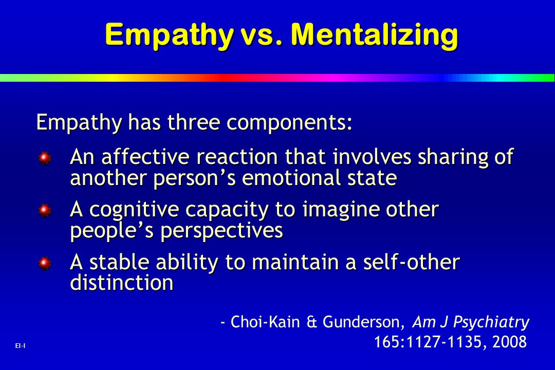 Empathy vs. Mentalizing