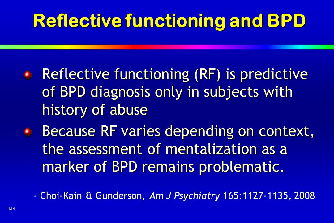 Reflective functioning and BPD