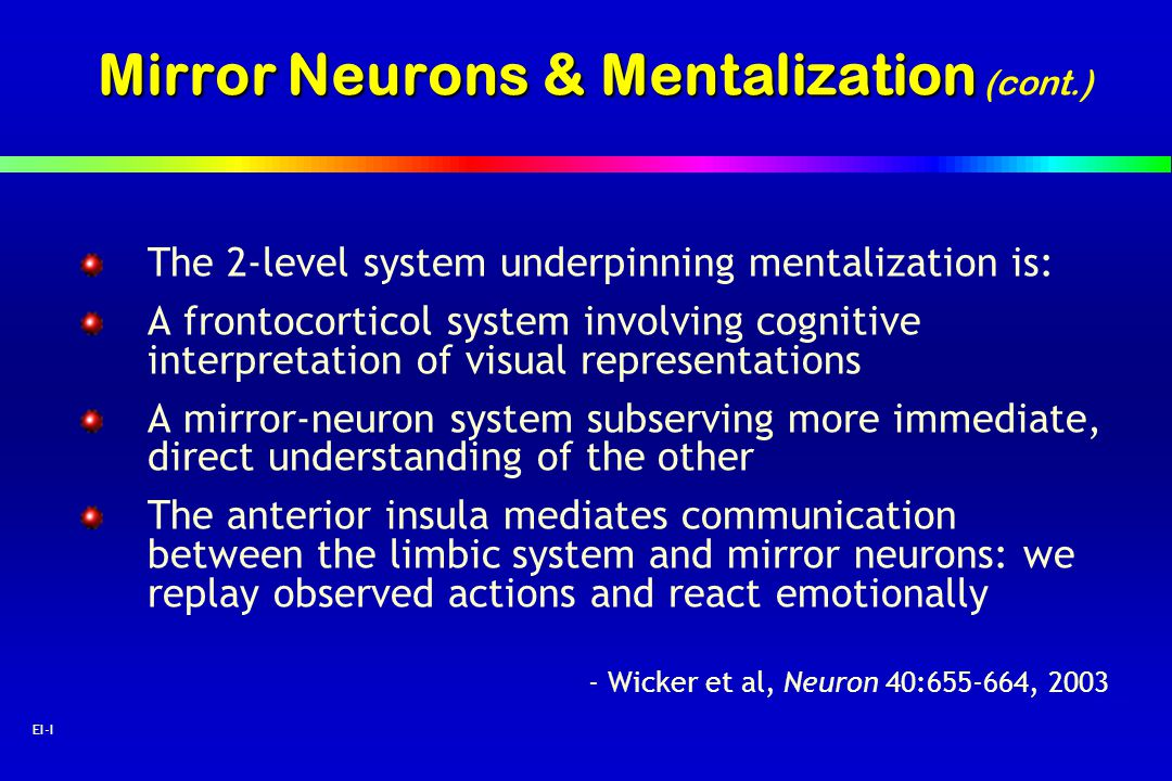 Mirror Neurons & Mentalization (cont.)