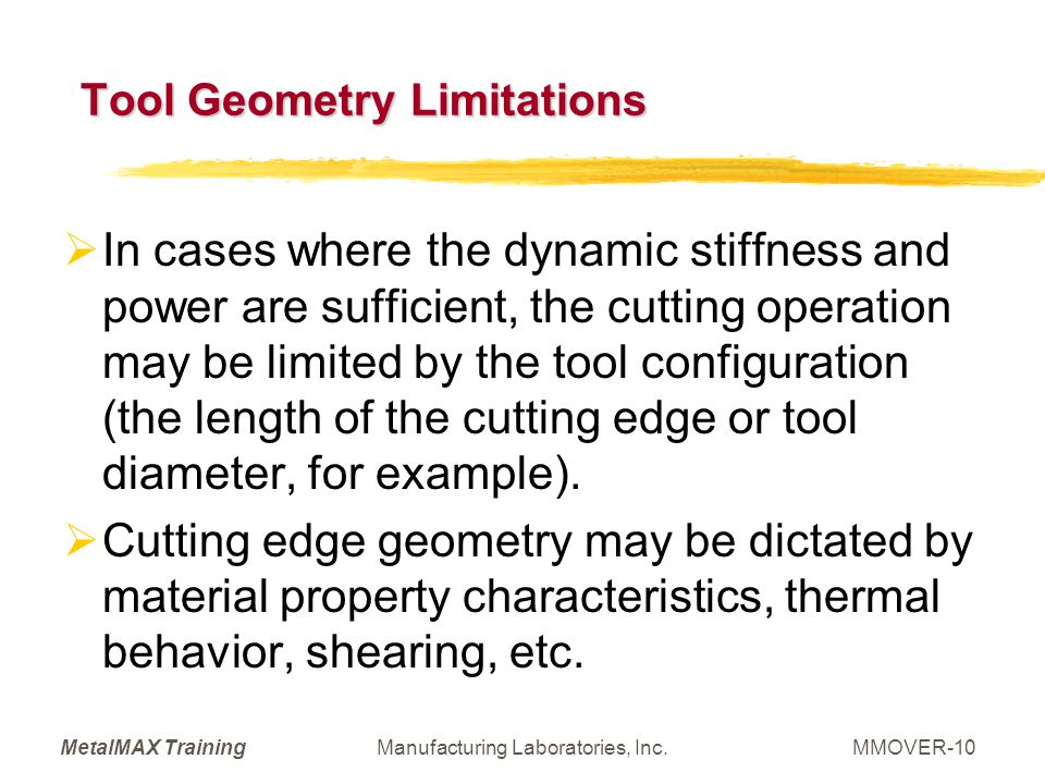 Tool Geometry Limitations