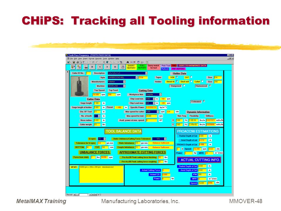 CHiPS: Tracking all Tooling information