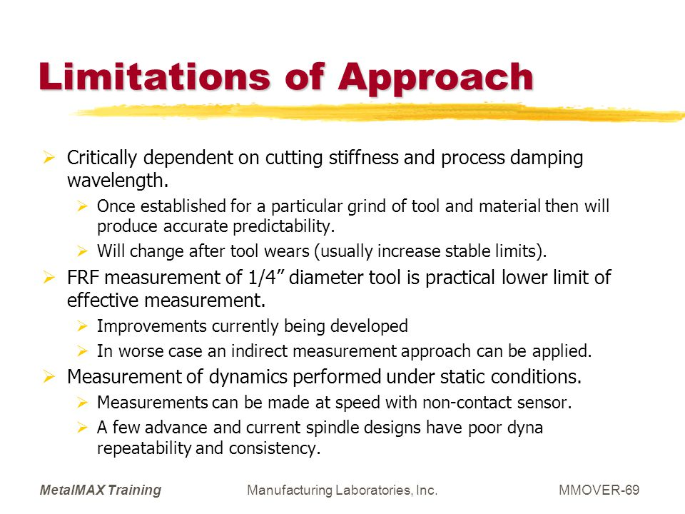 Limitations of Approach