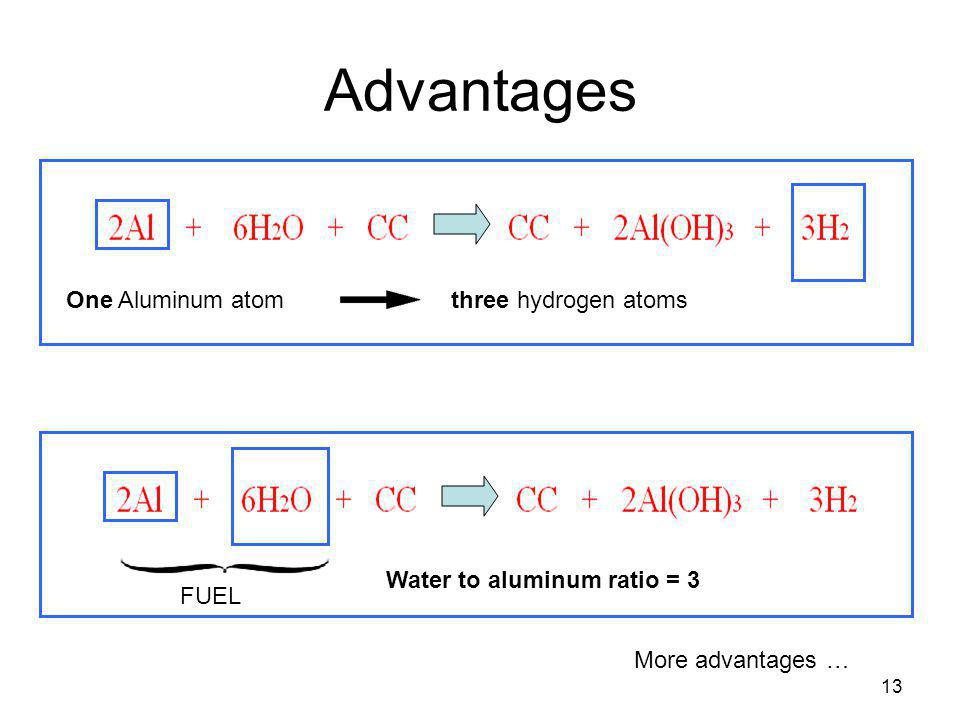 Advantages One Aluminum atom three hydrogen atoms