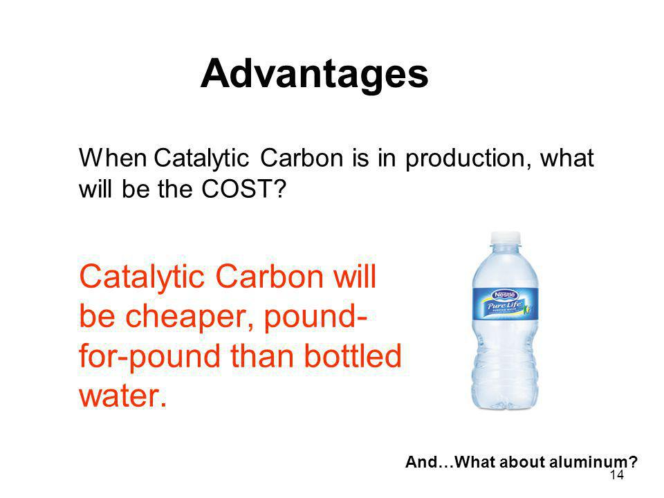 Catalytic Carbon will be cheaper, pound-for-pound than bottled water.