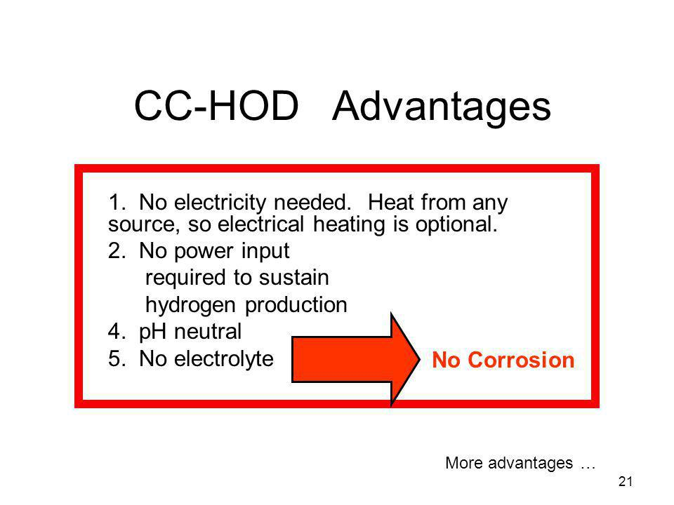 CC-HOD Advantages 1. No electricity needed. Heat from any source, so electrical heating is optional.