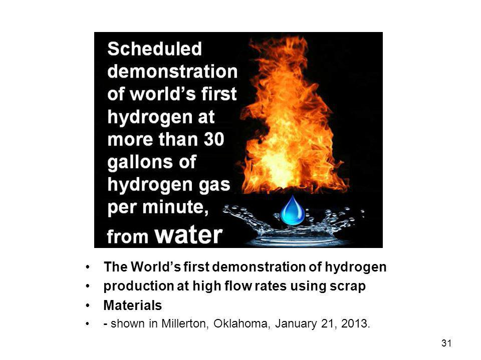 The World's first demonstration of hydrogen
