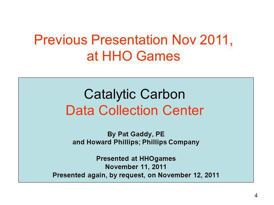 Catalytic Carbon Data Collection Center