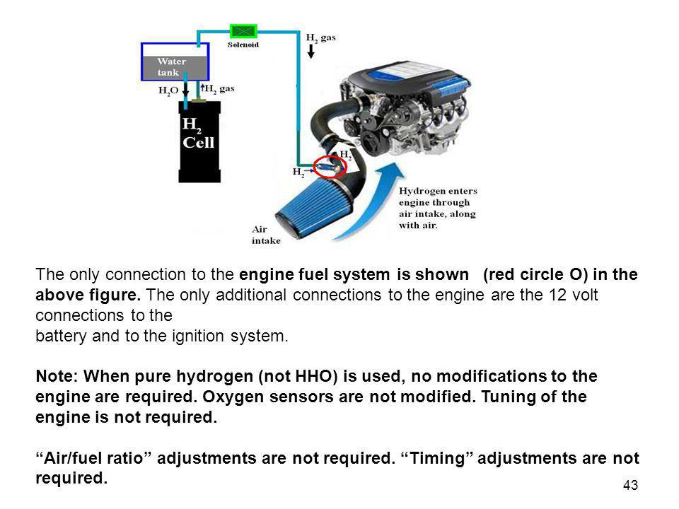 The only connection to the engine fuel system is shown (red circle O) in the above figure. The only additional connections to the engine are the 12 volt connections to the