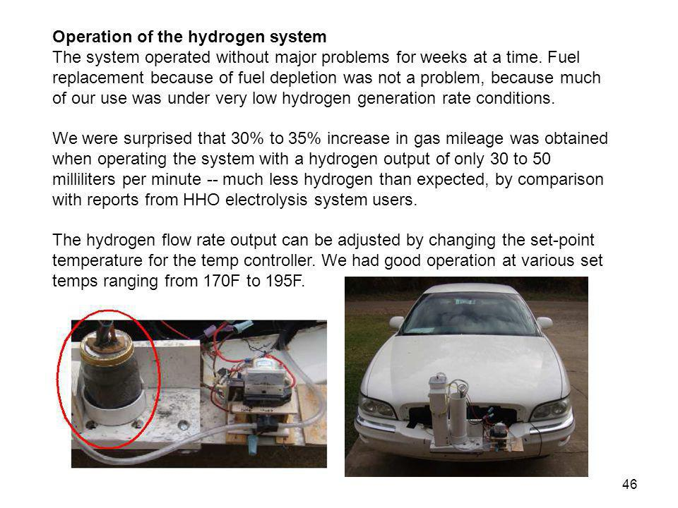 Operation of the hydrogen system