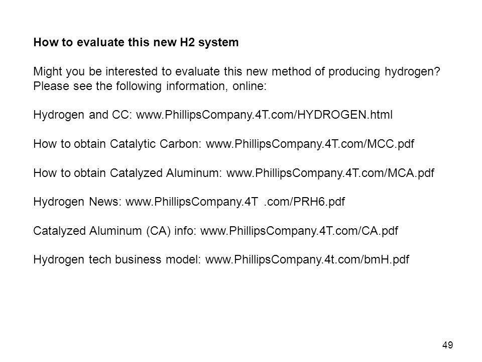 How to evaluate this new H2 system