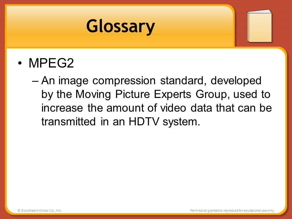 Glossary MPEG2.