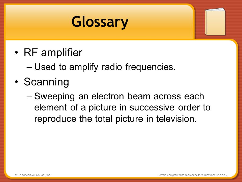 Glossary RF amplifier Scanning Used to amplify radio frequencies.