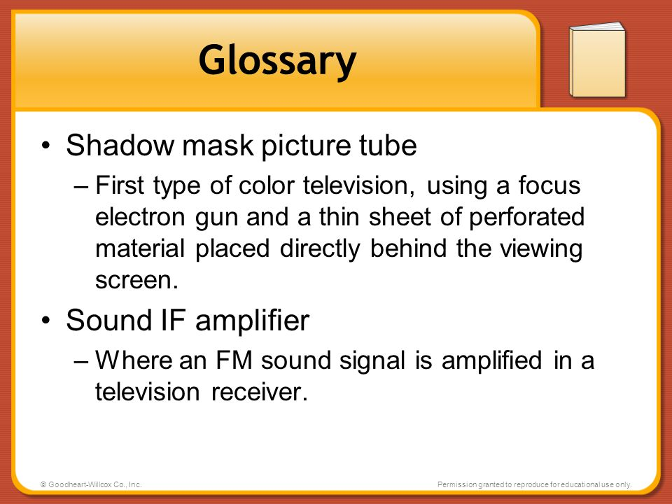 Glossary Shadow mask picture tube Sound IF amplifier