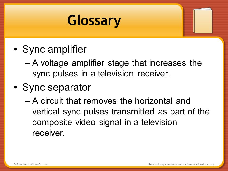 Glossary Sync amplifier Sync separator