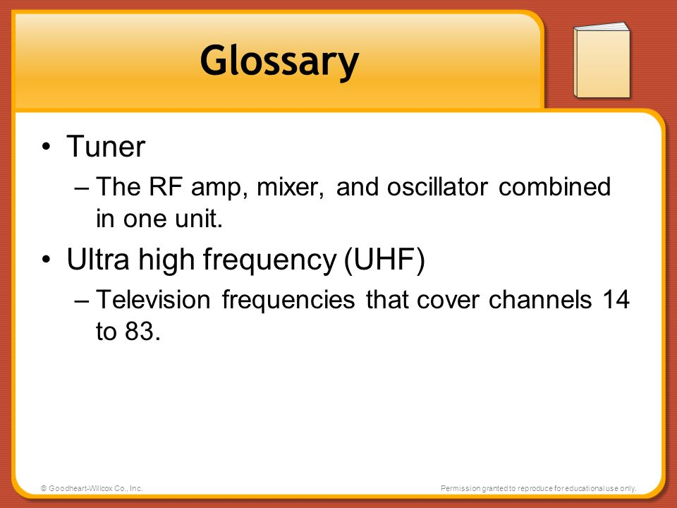 Glossary Tuner Ultra high frequency (UHF)