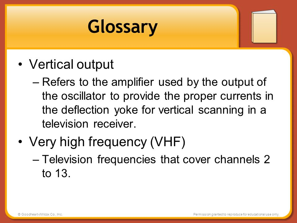 Glossary Vertical output Very high frequency (VHF)