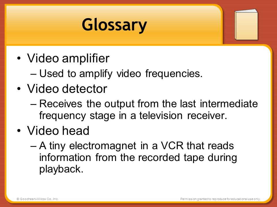 Glossary Video amplifier Video detector Video head