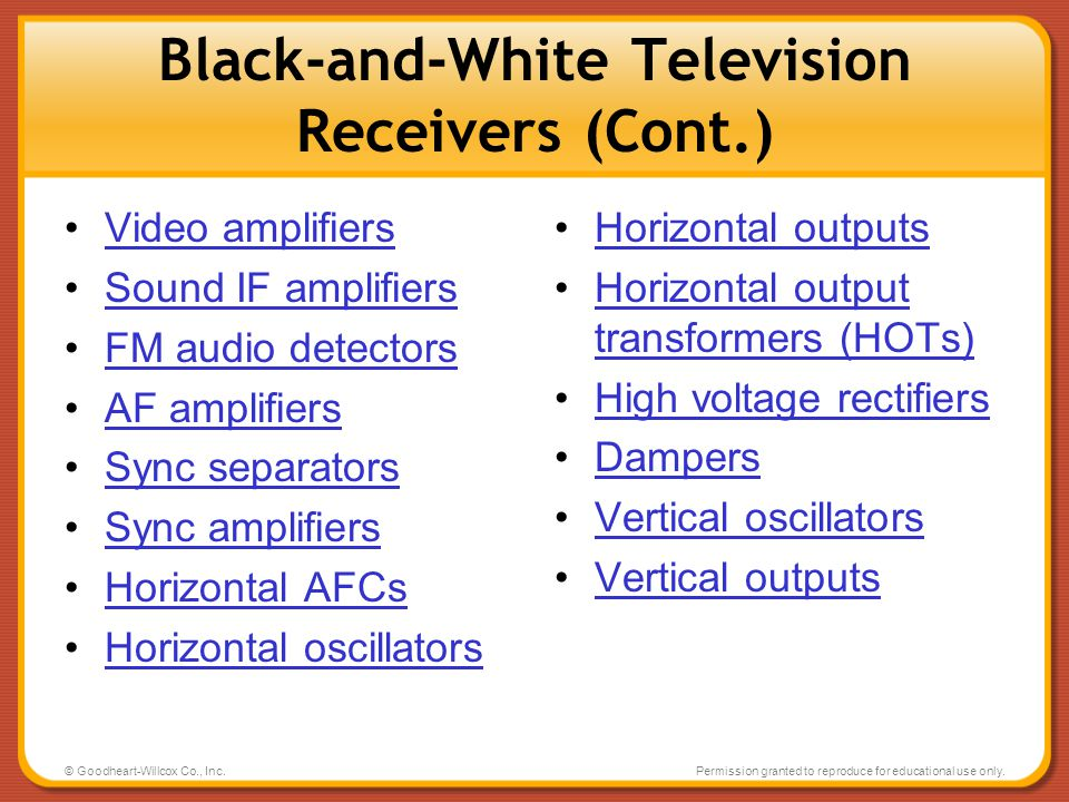 Black-and-White Television Receivers (Cont.)