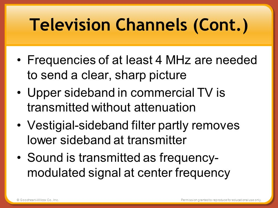 Television Channels (Cont.)