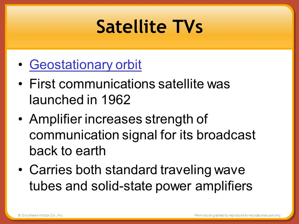 Satellite TVs Geostationary orbit
