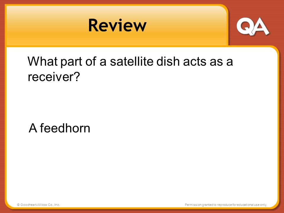 Review What part of a satellite dish acts as a receiver A feedhorn