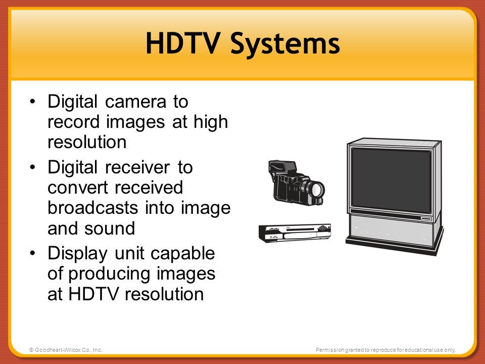 HDTV Systems Digital camera to record images at high resolution
