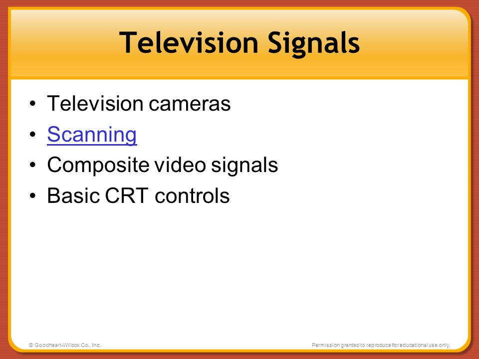 Television Signals Television cameras Scanning Composite video signals
