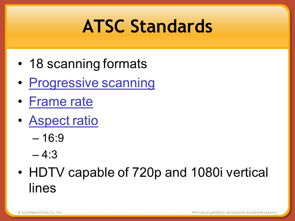 ATSC Standards 18 scanning formats Progressive scanning Frame rate
