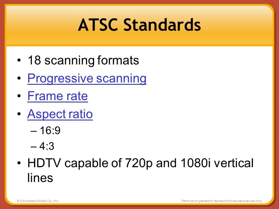 ATSC Standards 18 scanning formats Progressive scanning Frame rate
