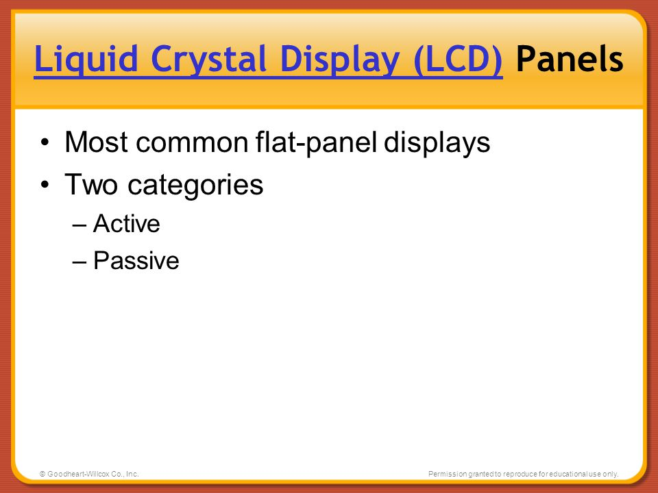 Liquid Crystal Display (LCD) Panels