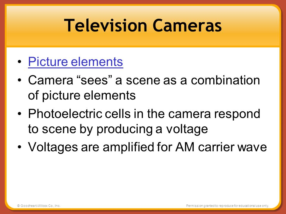 Television Cameras Picture elements