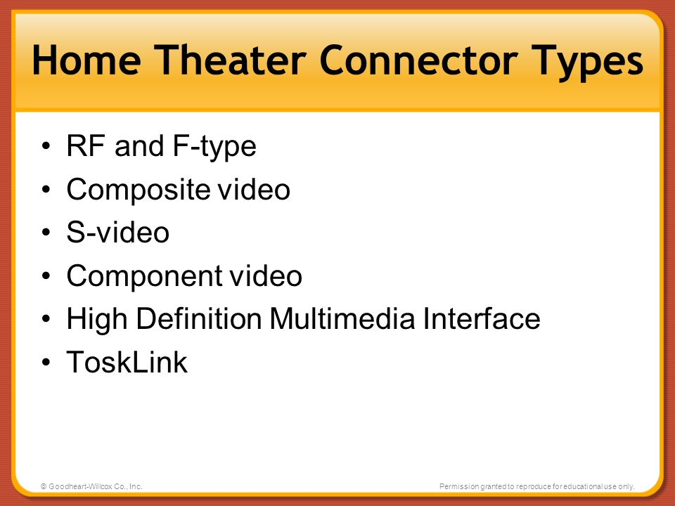 Home Theater Connector Types