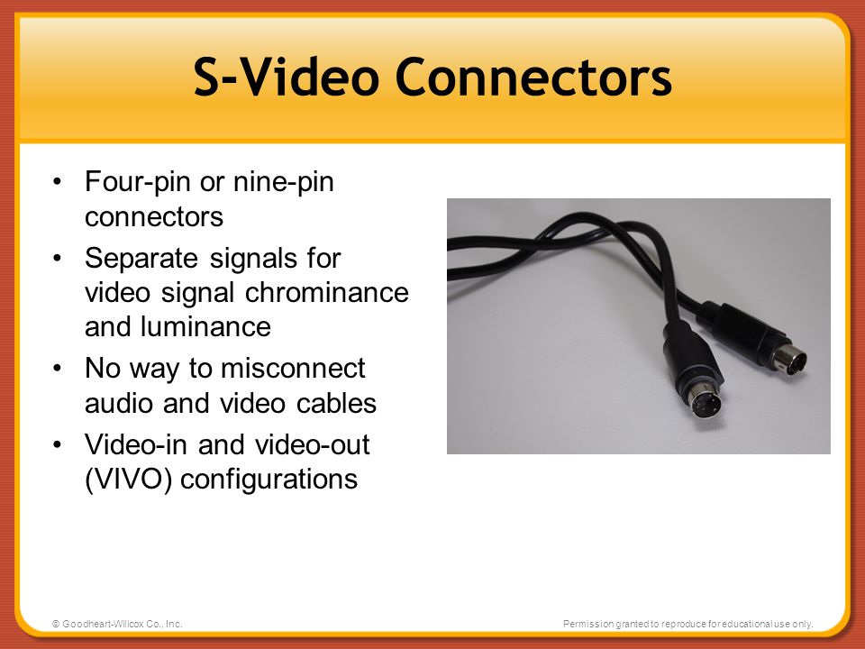 S-Video Connectors Four-pin or nine-pin connectors