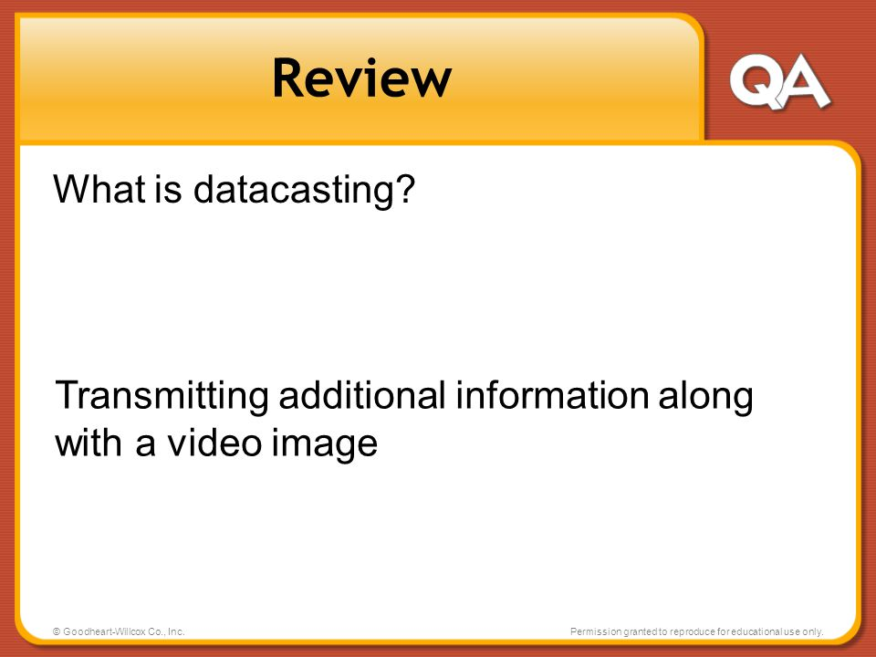 Review What is datacasting