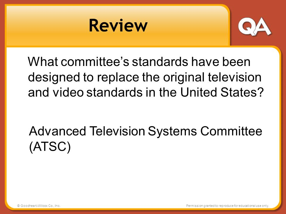 Review What committee's standards have been designed to replace the original television and video standards in the United States